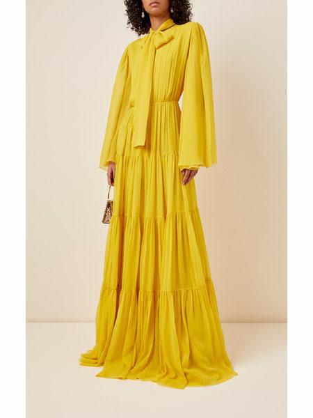 modaoperandi国际品牌2020春夏暖黄学雪纺收腰连衣裙