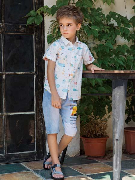 快乐精灵童装品牌2020春夏海豚衬衫