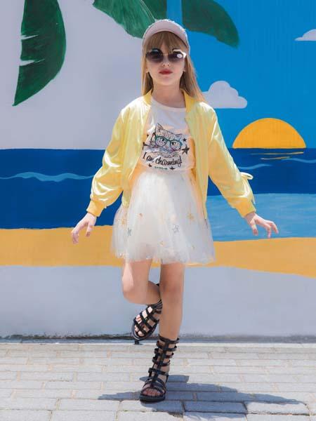 快乐精灵童装品牌2020春夏浅黄色薄款外套