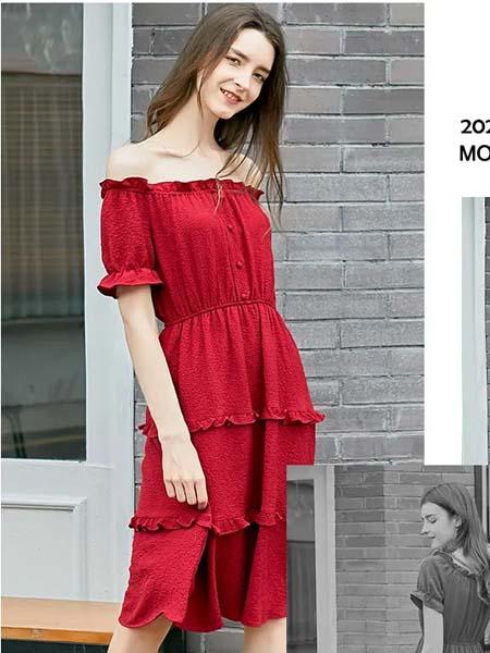欧禾女装品牌2020春夏露肩红色连衣裙