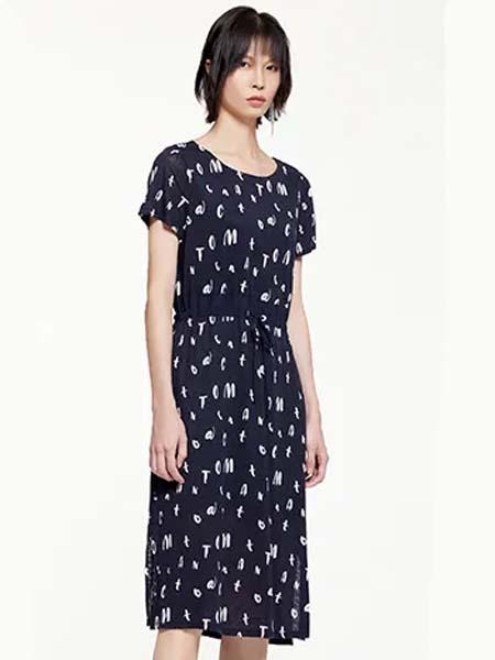 雾道女装品牌2020春夏圆领字母满图黑色连衣裙