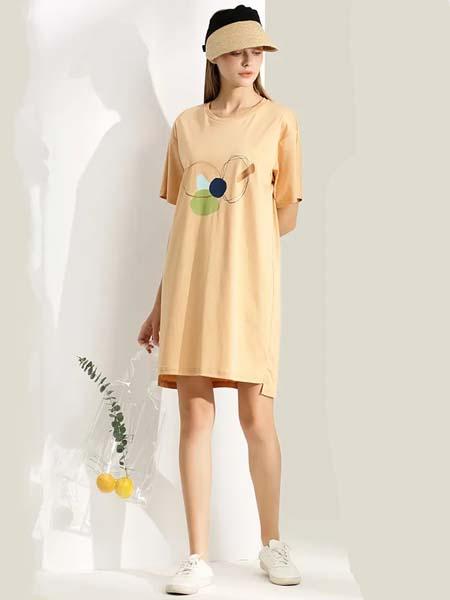 伊思君凯女装品牌2020春夏圆领黄色连衣裙长款T恤