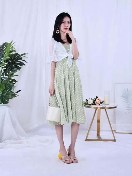 DR女装品牌2020春夏波点绿色连衣裙