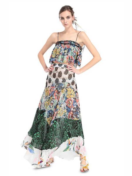 M Missoni国际品牌2020春夏时尚雪纺吊带裙