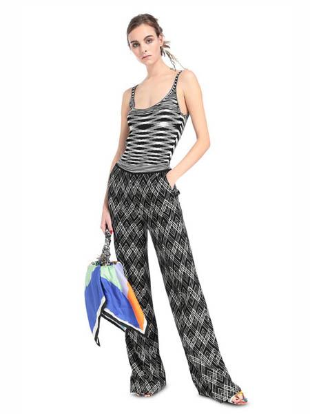 M Missoni国际品牌2020春夏显瘦宽松喇叭裤