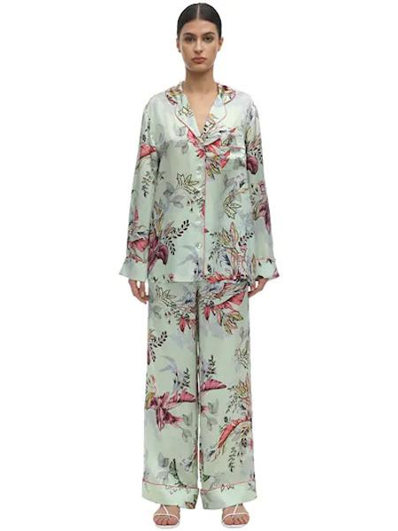 Marco de Vincenzo国际品牌品牌丝绸印花睡衣套装
