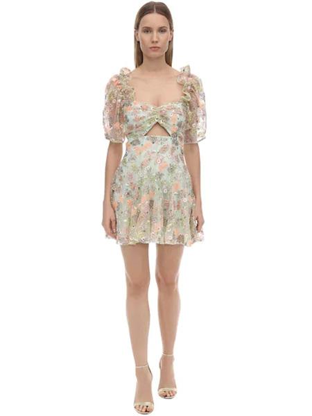 Marco de Vincenzo国际品牌品牌印花雪纺套装裙