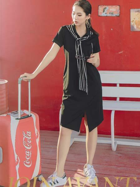 JA女装品牌2020春夏黑色修身连衣裙