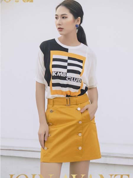 JA女装品牌2020春夏黑白撞色T恤