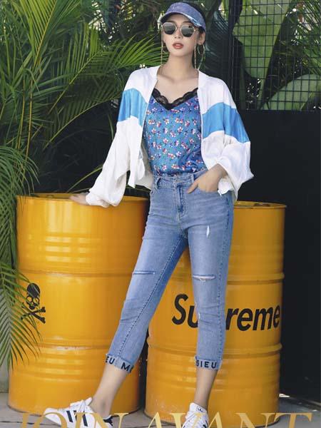 JA女装品牌2020春夏蓝色白色薄款外套