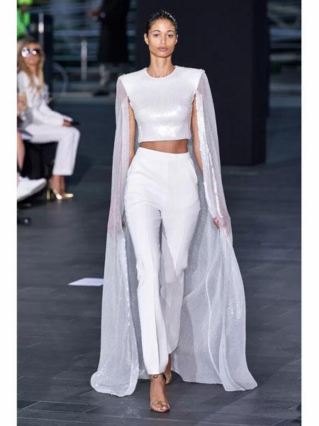 David Koma国际品牌2020春夏时尚网纱修身上衣