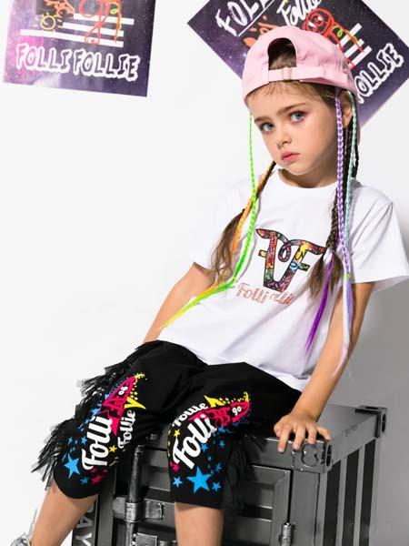 Folli Follie童装品牌2020春夏白色圆领T恤