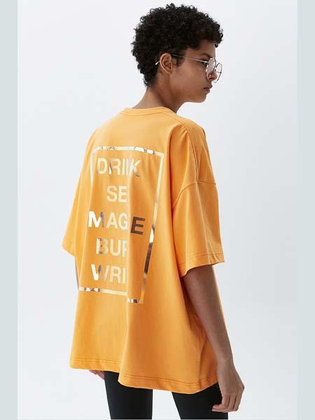 HEICH BLADE女装品牌2020春夏字母黄色宽松T恤
