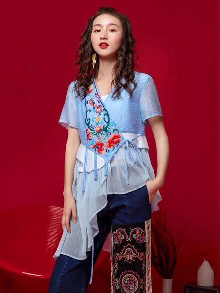素萝女装品牌2020春夏民族风刺绣纯棉上衣