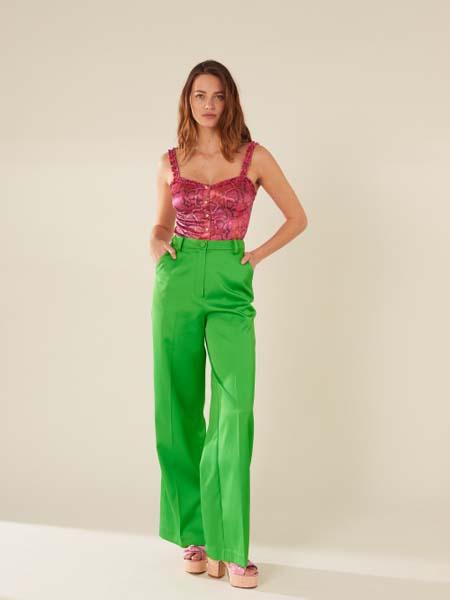 Manoush女装品牌2020春夏吊带紧身上衣绿色长裤