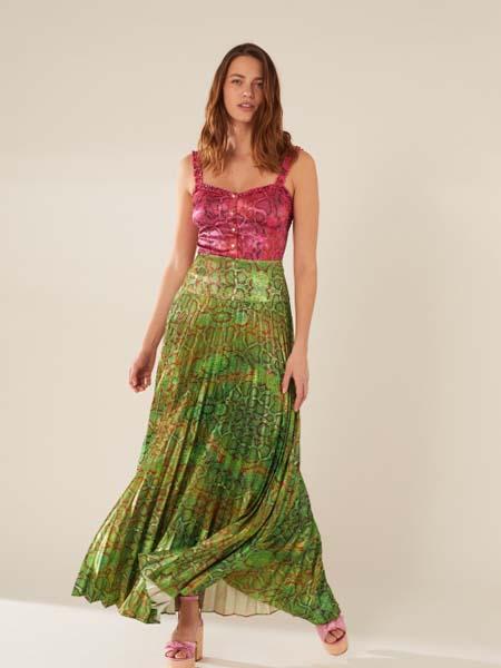 Manoush女装品牌2020春夏海绿色轻纱半身裙