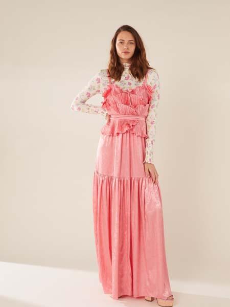 Manoush女装品牌2020春夏吊带粉色连衣裙时尚花瓣褶皱