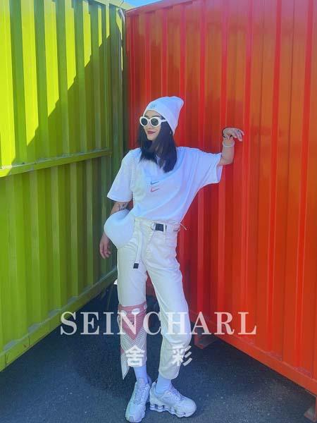 尚舍女装品牌2020春夏白色T恤白色短裤
