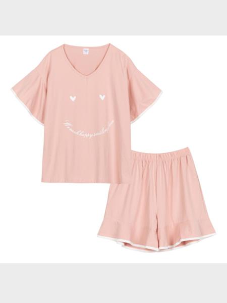秀黛内衣品牌2020春夏宽松休闲女可爱笑脸针织短袖两件套家居睡衣女¥99.00