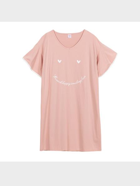 秀黛内衣品牌2020春夏宽松休闲可爱笑脸针织短袖家居V领睡衣裙女¥69.00