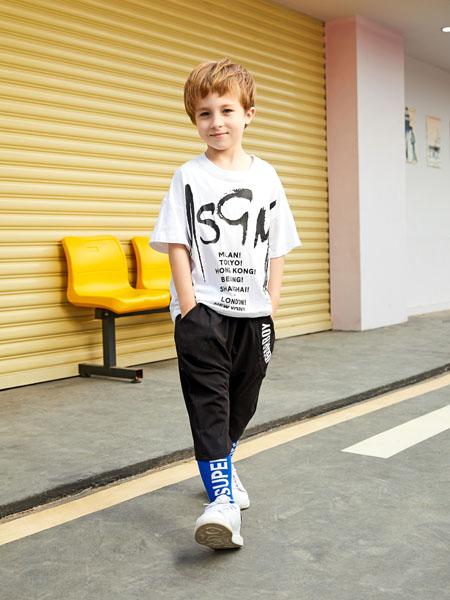 杰米熊童装品牌2020春夏字母白色T恤黑色束脚长裤