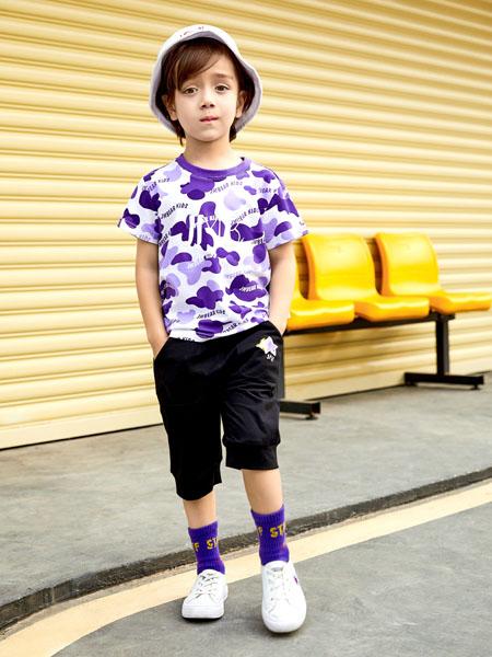 杰米熊童装品牌2020春夏紫色圆领边T恤黑色短裤