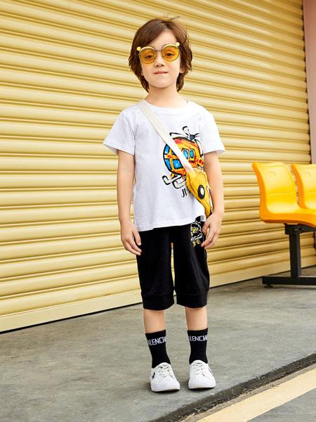 杰米熊童装品牌2020春夏白色飞机卡通T恤