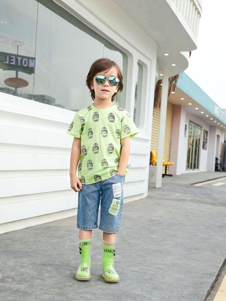 杰米熊童装品牌2020春夏绿色T恤