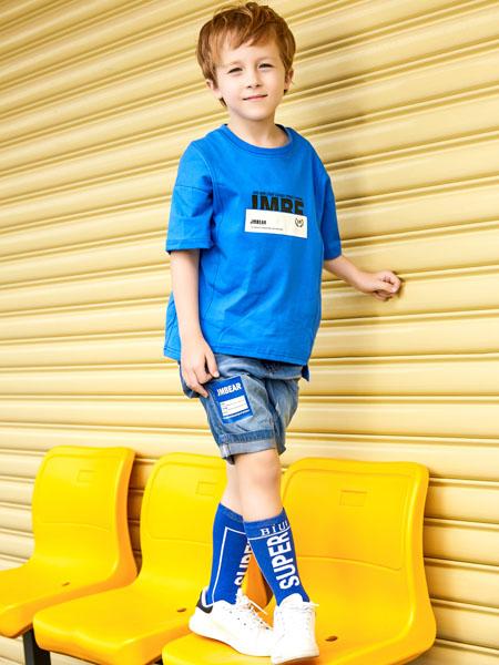 杰米熊童装品牌2020春夏蓝色T恤