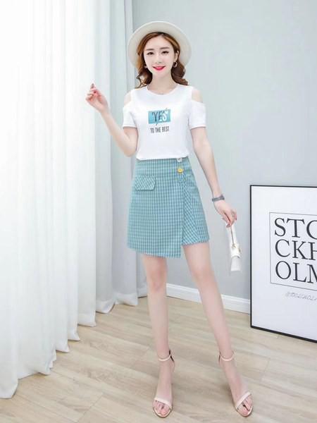 古米娜女装品牌2020春夏知性成熟套装裙两件套
