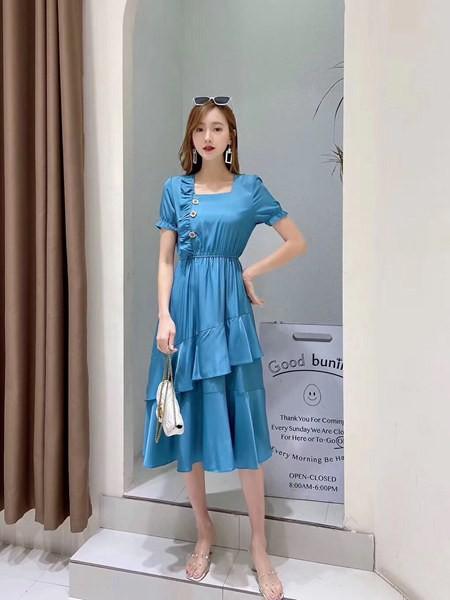古米娜女装品牌2020春夏时尚知性少淑装连衣裙