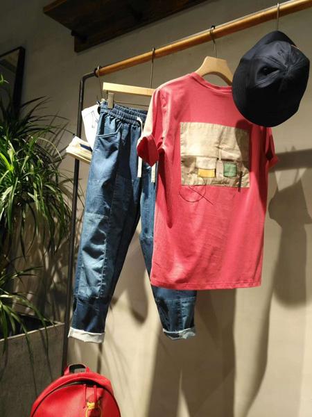99CM男装品牌2020春夏红色圆领T恤