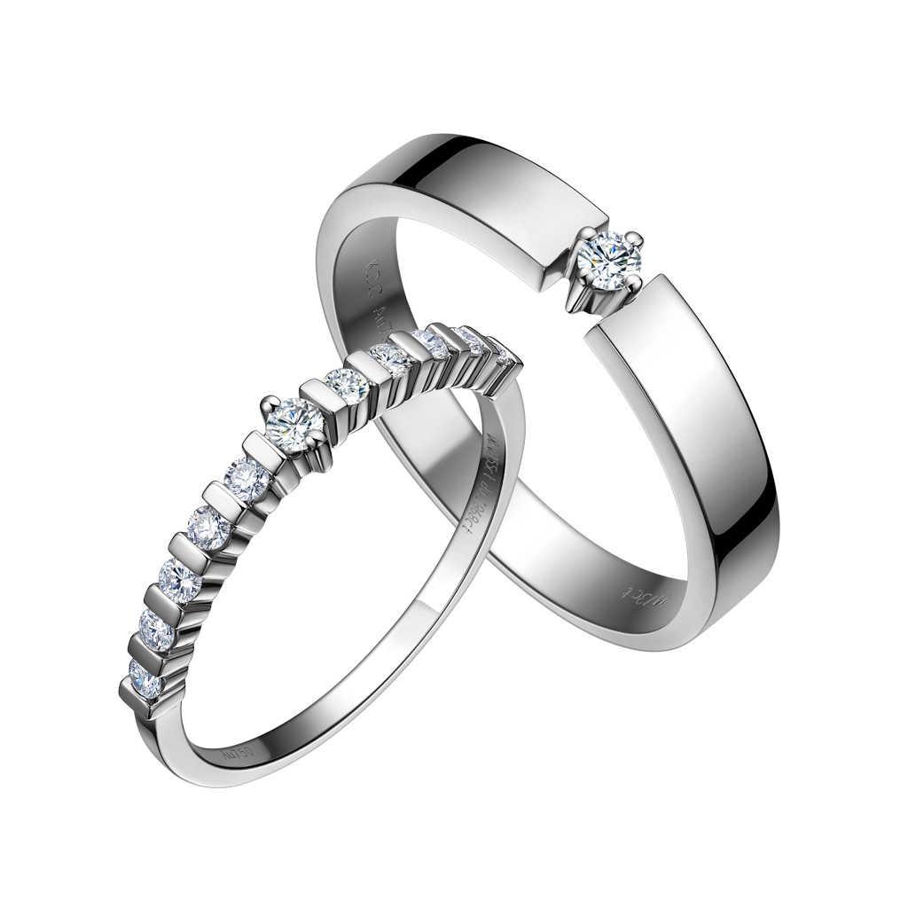 金伯利钻石国际品牌品牌18K白银钻石戒指女款时尚气质简约群镶钻戒指