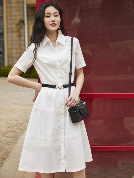 哈祥喜女装品牌2020春夏收腰白色衬衫连衣裙