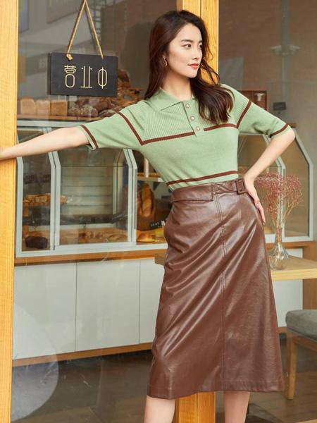 雀啡女装品牌2020春夏绿色T恤翻领皮面半裙