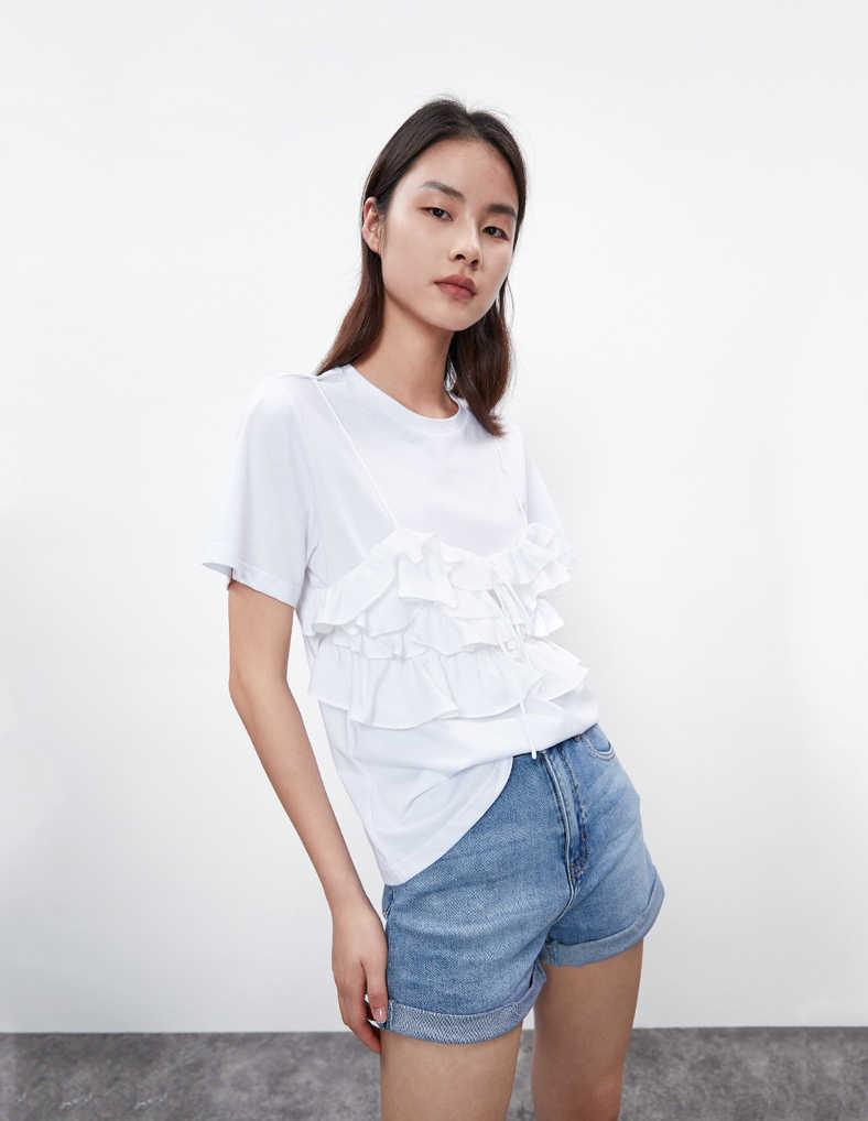 URBAN REVIVO(UR)国际品牌品牌2020春夏时尚个性拼接款短袖
