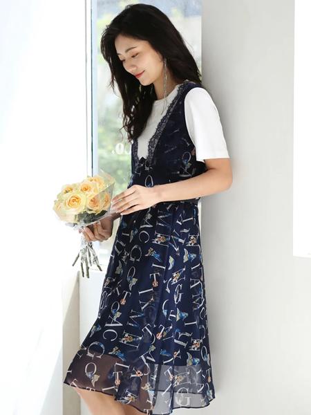 雪歌女装品牌2020春夏雪纺吊带裙