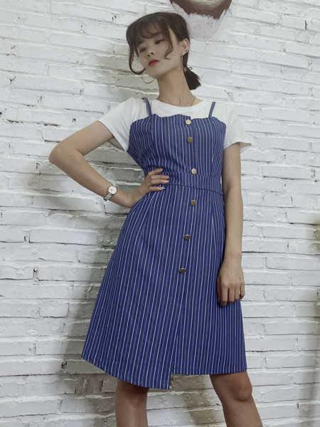 靓漫蒂女装品牌2020春夏紫色条纹背带裙