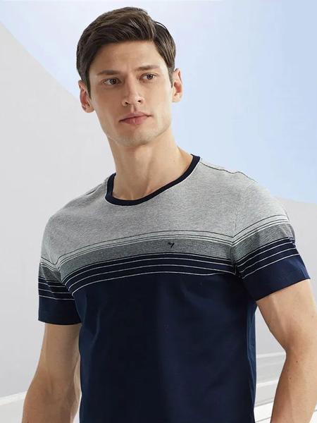 柒牌男装品牌2020春夏圆领藏蓝色T恤