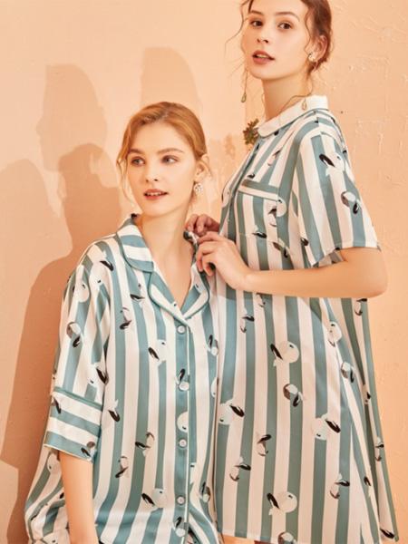 美标内衣品牌2020春夏竖纹青色睡衣睡裤