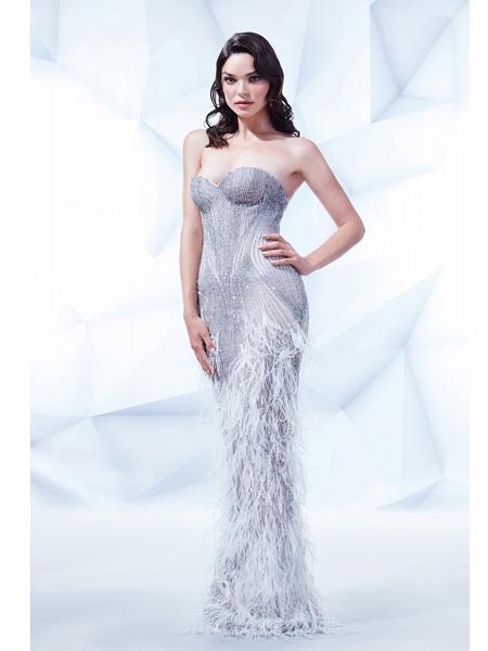 MIKAEL D国际品牌品牌修身梦幻鱼尾裙礼服
