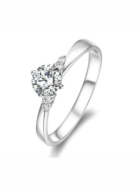 金嘉利国际品牌纯银设计感简约订婚戒指
