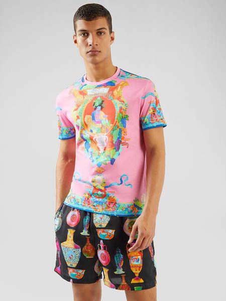Versus国际品牌品牌彩色印花纯棉T恤