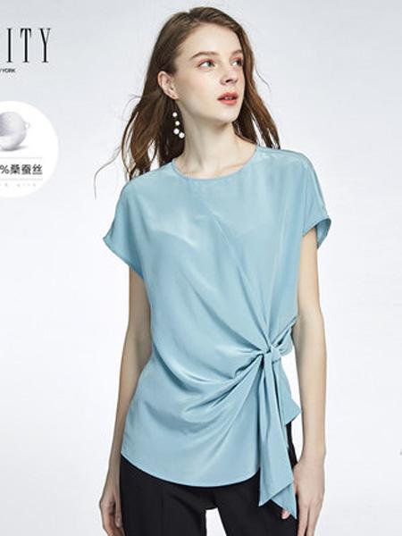 菲妮迪女装品牌2020春夏宽松短袖T恤女时尚简约侧边系带收腰真丝上衣¥1098.00