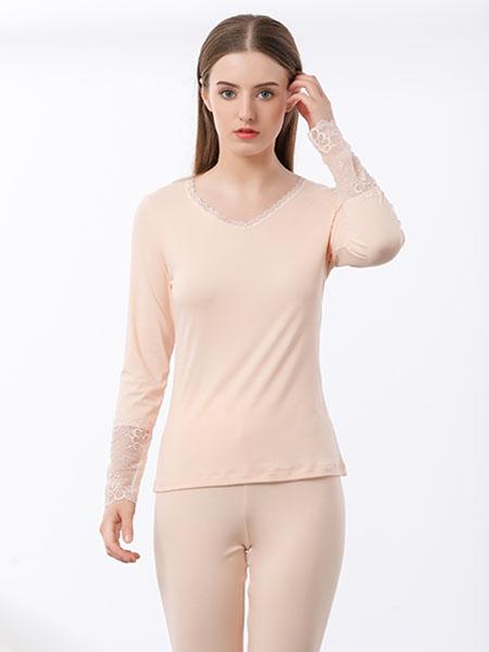 Freeday自在时光内衣品牌2020春夏米色蕾丝边保暖内衣