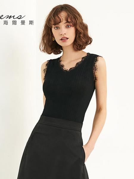 海尔曼斯女装品牌2020春夏黑色纯色蕾丝边背心打底衫上衣
