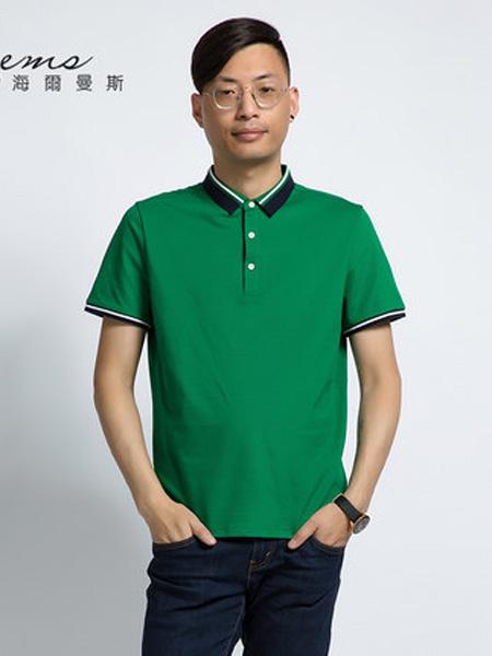 海尔曼斯女装品牌2020春夏纯色T恤领短袖针织衫