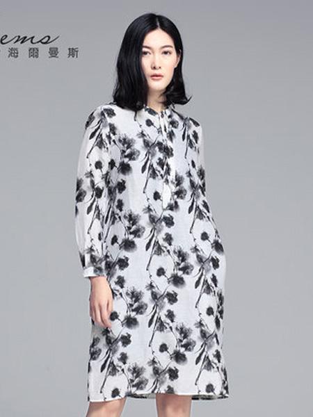 海尔曼斯女装品牌2020春夏印花连衣裙长裙