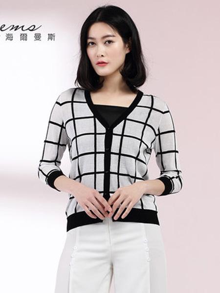 海尔曼斯女装品牌2020春夏短款条纹针织衫V领中袖薄开衫