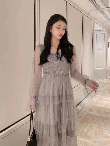施洛琳女装品牌2020春夏雪纺连衣裙网纱